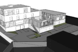 Plans 3D pour la construction d'un foyer d'insertion et de bureaux