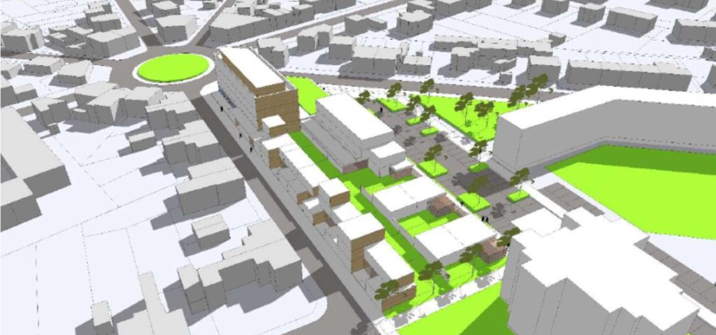 Illustration 3D de logements, commerces, maison médicale à Soissons