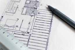 Dessin de plan papier d'une maison individuelle
