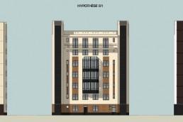 Plan façade réhabilitation de la Résidence Gaultier / Mission Marchand (242 logements) à Courbevoie.
