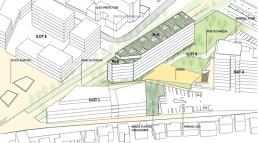 Plan construction d'une résidence universitaire de 215 logements (Îlot K) à Antony.
