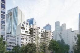 Plan 3d réaliste surélévation d'une résidence à Courbevoie