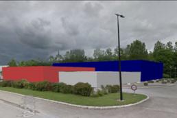 Placement en 3D de la salle polyvalente et salle multisport à Estissac
